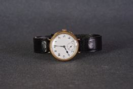 GENTLELMENS PEERLESS IWC 9CT GOLD TRENCH WATCH CIRCA 1920s, circular white dial with black arabic