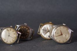 GROUP OF VINTAGE WATCHES INCL OMEGA MOVDAO BAUME & MERCIER, the case case sizes of the 4 vintage