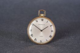 VINTAGE MARVIN POCKET WATCH, circular silver dial with black roman numerals and hands, 42mm gold