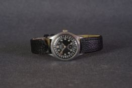 GENTLEMENS ORIS DATE WRISTWATCH CIRCA 1960s, circular black dial with patina arabic numeral hour