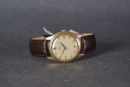 GENTLEMENS OMEGA 9CT GOLD WRISTWATCH CIRCA 1953, circular patina dial with applied gold hour markers