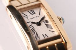 LADIES CARTIER LANIERES 18CT DRESS WATCH REFERENCE 2562, rectangular chocolate block silvered