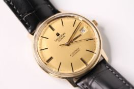 VINTAGE UNIVERSAL GENEVE POLEROUTER AUTOMATIC REFERENCE 44215, circular gilt dial baton hour