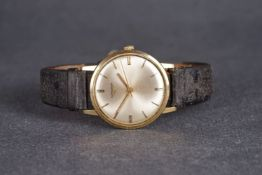 9CT LONGINES WRISTWATCH, circular silvered dial,