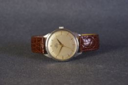 GENTLEMENS GUBELIN IPSOMATIC WRISTWATCH REF. 151286, circular patina dial with applied gold hour