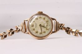 9ct J W BENSON Cocktail watch, circular dial, Arabic numerals, 20mm 9ct case, 9ct leaf design