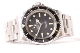 VINTAGE ROLEX 5513 SUBMARINER CIRCA 1966, black dial with patina lume, matching patina mercedes