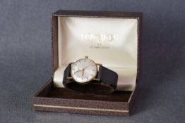 GENTLEMENS LONGINES 9CT GOLD WRISTWATCH W/ BOX, circular silver dial with stick hour markers and