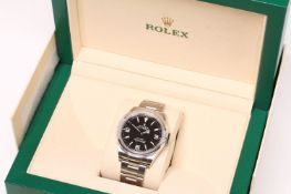 2020 ROLEX EXPLORER REFERENCE 214270 FULL SET, circular black dial with luminous baton and Arabic