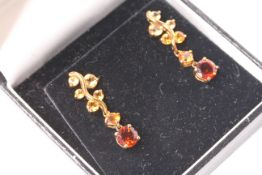 Pair of Citrine Drop Earrings, gold, comes with a box