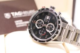 GENTLEMENS TAG HEUER CARRERA 1887 REF CAR2A10-3, circular black dial with arabic numbers, date at