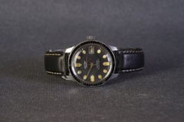 GENTLEMENS ROTARY AUTOMATIC AQUA PLUNGE II WRISTWATCH CIRCA 1960s, circular black dial with patina