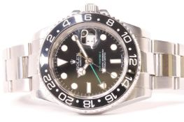 ROLEX OYSTER PERPETUAL DATE GMT MASTER II REFERENCE 116710 CIRCA 2009, black dial with green GMT