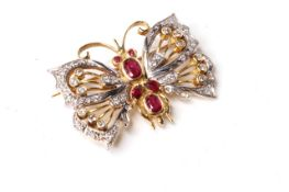 Ruby and Diamond Butterfly Brooch, oval cut rubies, diamond set wings, 32x22mm, 10g, yellow and