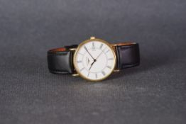GENTLEMENS LONGINES DATE QUARTZ 18CT GOLD WRISTWATCH, circular white dial with roman numeral hour
