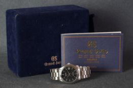 GENTLEMENS GRAND SEIKO DATE WRISTWATCH W/ BOX & BOOKLET REF. FBGX0419F620A10, circular black gloss