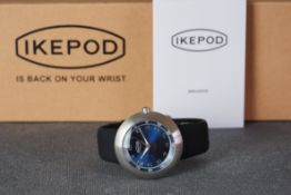 GENTLEMENS NOS IKEPOD AUTOMATIC WRISTWATCH W/ BOX & GUARANTEE REF. 2642, circular blue dial with