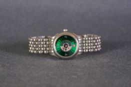 LADIES PERRELET AUTOMATIC WRISTWATCH, circular green guilloche dial with arabic numeral and heart