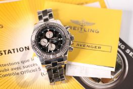 GENTLEMENS BREITLING SUPER AVENGER WRISTWATCH REF A13370 W/BOX & PAPERS, circular black dial with