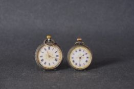 PAIR OF SMALL SILVER POCKET WATCHES, both with white ceramic dials, silver cases, manually wound