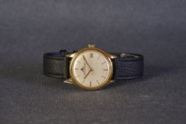 GENTLEMENS JAEGER LE COULTRE DATE 18CT GOLD WRISTWATCH, circular off white dial with gold leaf