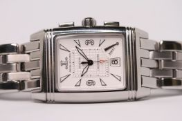 JAEGER-LECOULTRE REVERSO CHRONOGRAPHE GRAND SPORT WITH BOX AND PAPERS, rectangular white dial with