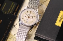 GENTLEMENS BREITLING TRANSOCEAN CHRONOGRAPH WRISTWATCH REF AB0154 W/BOX & PAPERS, circular gold tone