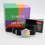 GENTLEMAN'S TIMEX TODD SYNDER NEW YORK EDITION, RARE, BOX AND BOOKLET, IN UNWORN CONDITION, CIRCA.