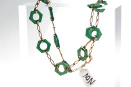 Art Deco Green Hardstone Necklace, 12 hexagonal carved green hard stone links, linked with hand made