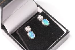Pair of Opal and Diamond Earrings, gold