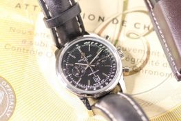 GENTLEMENS BREITLING TRANSOCEAN CHRONOGRAPH REF A41310 W/BOX & PAPERS, circular black dial with hour