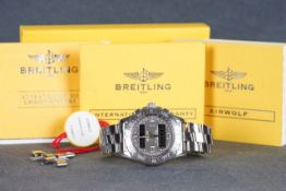 GENTLEMENS BREITLING AIRWOLF WRISTWATCH W/ PAPERS & SPARE LINKS REF. A78363, circular two tone