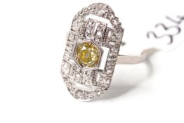 Art Deco Fancy Yellow Old Cut Diamond Panel Ring, central fancy golden yellow diamond, estimated