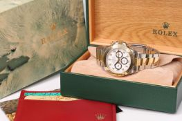 RARE ROLEX 'ZENITH' DAYTONA REFERENCE 16523 WITH BOX AND DOCUMENTS CIRCA 1991 , white diamond dot