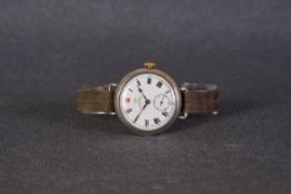GENTLEMENS IWC SIGNED SS&CO 925 STERLING SILVER TRENCH WATCH, circular white ceramic dial signed '