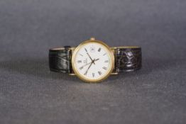 GENTLEMENS OMEGA QUARTZ DATE 18CT GOLD WRISTWATCH REF. 1967500, circular white dial with black roman