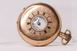 9ct Tavannes hunter pocket watch, 9ct rose gold half hunter case, front case back window with