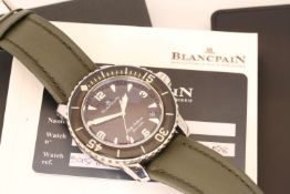 BLANCPAIN FIFTY FATHOMS REFERENCE 5015.1130-52, circular black dial, Luminous dagger hour markers
