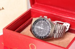 VINTAGE OMEGA SPEEDMASTER MARK II REFERENCE 145.014 CIRCA 1970 WITH BOX AND BOOKLET, circular