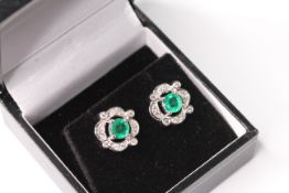 Pair of Emerald and Diamond earrings, gold