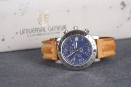 GENTLEMENS UNIVERSAL GENEVE COMPAX AUTOMATIC CHRONOGRAPH WRISTWATCH REF. 898.400 W/ BOX, circular