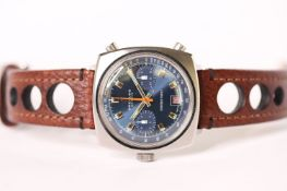 VINTAGE BREITLING CHRONO-MATIC REFERENCE 2111 CIRCA 1970, unusual blue dial with two subsidiary