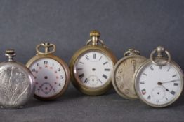 GROUP OF VINTAGE BASE METAL POCKET WATCHES INCL VIADUCT SILVANA, a group of 5 vintage pocket