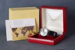 GENTLEMENS OMEGA GENEVE DATE WRISTWATCH W/ BOX & PAPERS REF. 136098, circular silver dial with baton