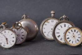 GROUP OF VINTAGE SILVER POCKET WATCHES INCL J W BENSON, a group of 6 vintage pocket watches, all