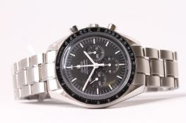 2018 OMEGA SPEEDMASTER MOON WATCH REFERENCE 145.0022 / 345.0022 WITH BOX AND PAPERWORK, black