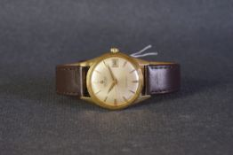 GENTLEMENS CERTINA AUTOMATIC BLUE RIBBON 18CT GOLD WRISTWATCH, circular patina dial with gold