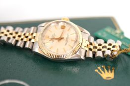 MID-SIZE VINTAGE ROLEX DATEJUST REFERENCE 68273 W/BOX, circular silver dial with applied baton