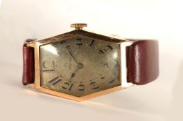 GENTLEMENS OMEGA OVERSIZE CIRCA 1920/30's WRISTWATCH, hexagonal aged dial with arabic numbers and an