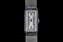 STUNNING PLATINUM AUDEMARS PIGUET VINTAGE DRESS WATCH CIRCA 1920,set with a sapphire and diamond